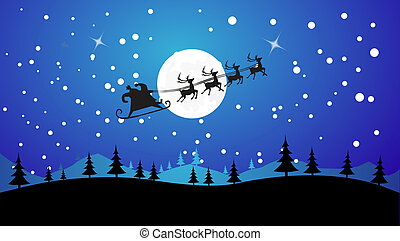 Flying Santa and Christmas Reindeer - Silhouette...