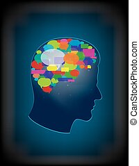 The concept of brain full of ideas - Illustration of concept...