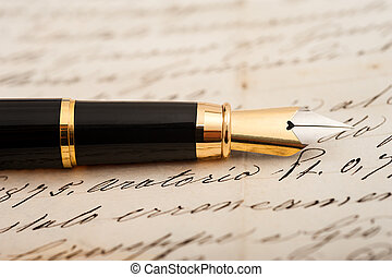 Fountain pen on letter background