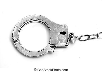 a gray handcuffs isolated on white background