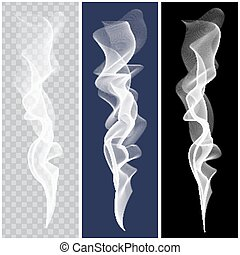 Set of realistic white smoke. Vector - Set of white smoke on...