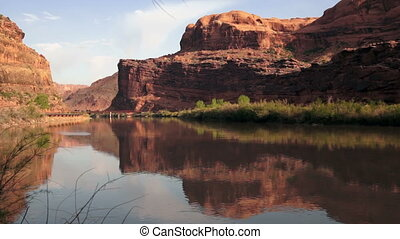 Colorado River Flowing Shore Utah - Nature is all around on...