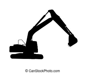 Working Excavator Isolated - Vector Illustration of Working...