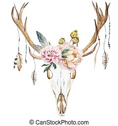 Watercolor deer head with wildflowers - Beautiful vector...