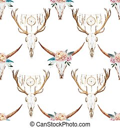 Watercolor pattern with deer head - Beautiful vector...