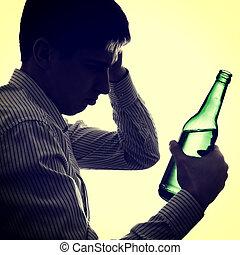 Cerveja, garrafa, homem