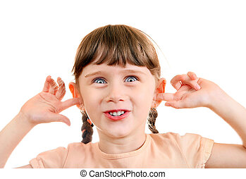 Cheerful Little Girl close the Ears Isolated on the White...