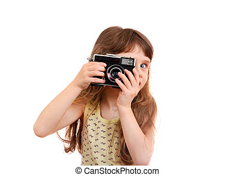 Little Girl with Photo Camera - Little Girl with Retro Film...