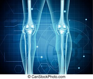 Healthy human legs knee joint on a abstract blue technology...