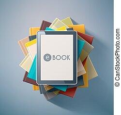 E-Book - E-book, stack of books, eps 10