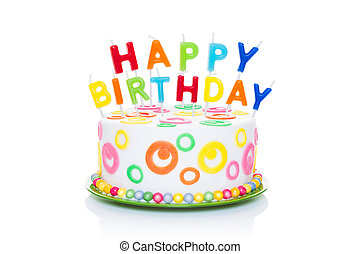 happy birthday cake or tart with happy birthday letters as...