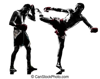 two men exercising thai boxing silhouette - two men...