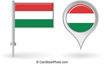 Hungarian pin icon and map pointer flag Vector illustration...