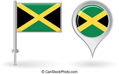 Jamaican pin icon and map pointer flag. Vector illustration.