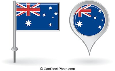 Australian pin icon and map pointer flag. Vector