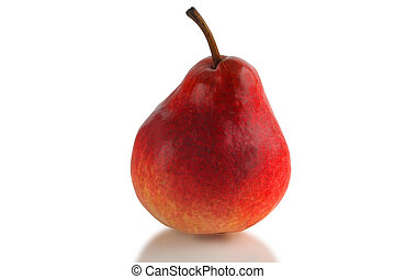 red pear - red juicy ripe pear on a white background