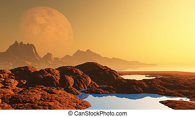 Surreal landscape with planet
