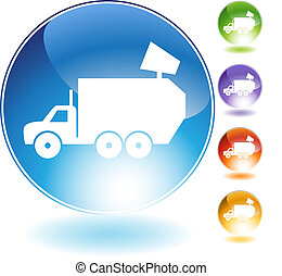 Garbage Truck Crystal Icon - Garbage truck crystal icon...