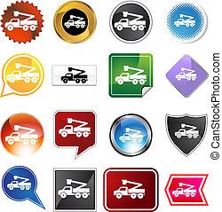 Crane Lift Truck Icon Set - Crane lift truck icon set...