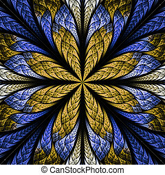 Symmetrical fractal flower in stained-glass window style. Blue and beige palette. Computer generated graphics.