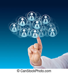 Finger Touching Human Resources In The Cloud - Index finger...