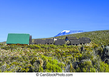 huts at Mount Kilimanjaro, the highest mountain in Africa...