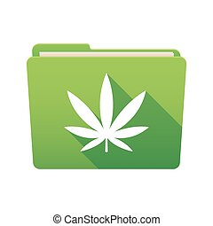 Folder icon with a marijuana leaf - Isolated file folder...