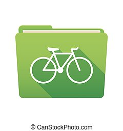 Folder icon with a bicycle - Isolated file folder icon with...