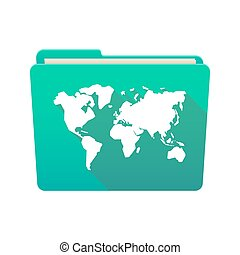 Folder icon with a world map