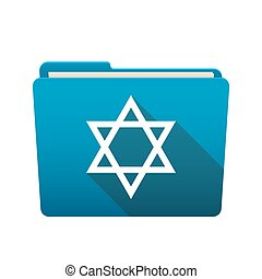 Folder icon with a David star - Isolated file folder icon...