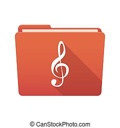Folder icon with a g clef - Isolated file folder icon with a...