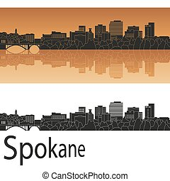 Spokane skyline in orange - Spokane skyline in orange...