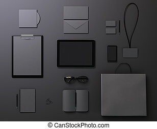 Black template for branding identity
