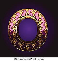 o  vector violet letter with gold
