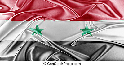 Syria Flag. Flag with a beautiful glossy silk texture.