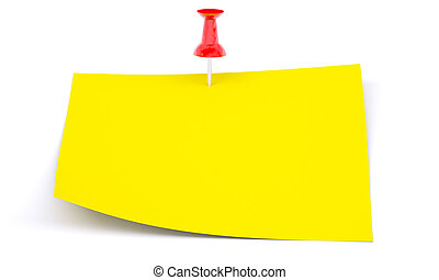 Yellow sticker with red drawing pin on isolated white...