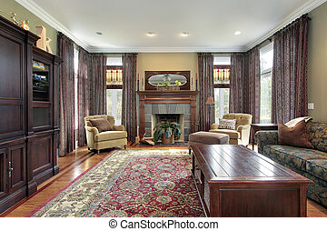 Living room with slate fireplace - Living room in luxury...