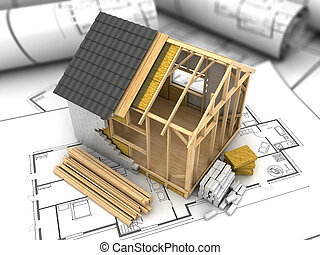 frame house plan - 3d illustration of modern frame house...