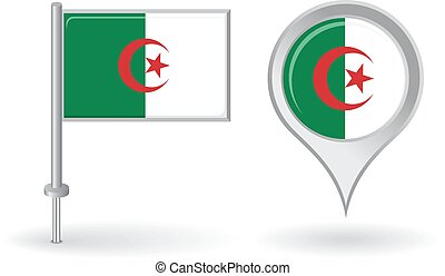 Algerian pin icon and map pointer flag. Vector illustration.