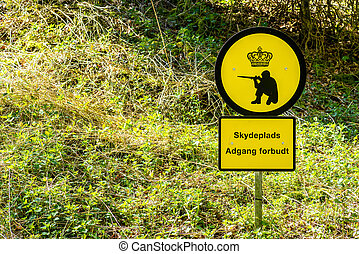 Shooting range sign in Denmark - Danish shooting range...