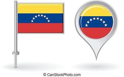 Venezuelan pin icon and map pointer flag. Vector...