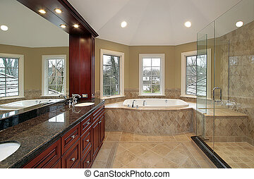 Master bath with marble tub - Master bath in new...