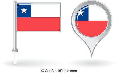 Chilean pin icon and map pointer flag. Vector illustration.