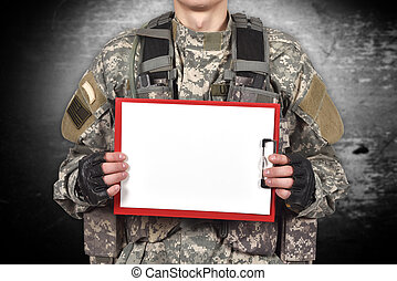 soldier holding blank clipboard - american soldier holding...
