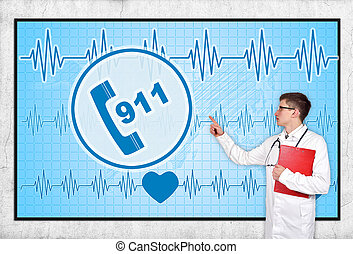 911 symbol - doctor with clipboard looking to screen with...