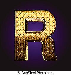 r vector golden letter