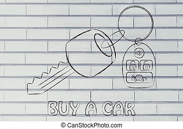 illustration of car keys with remote - car keys with remote,...