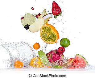 Fruit with water splash - Fresh fruit with water splash