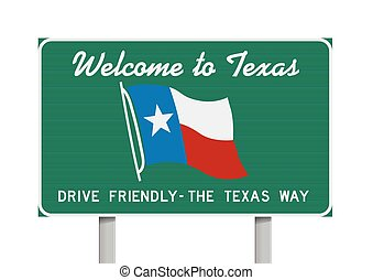 Republic Auto Of Texas >> Welcome to Texas road sign - Vector illustration of the...