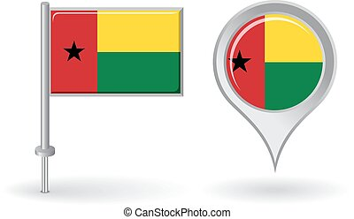 Guinea-Bissau pin icon and map pointer flag Vector...